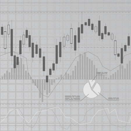 stock market charts: Gray business background Illustration