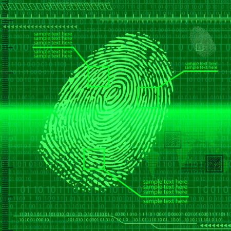 Green fingerprint background. Vector