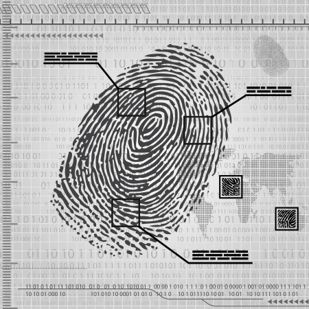 computer crime: Gray background with fingerprint.