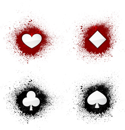 double the chances: Card suits on ink splash.
