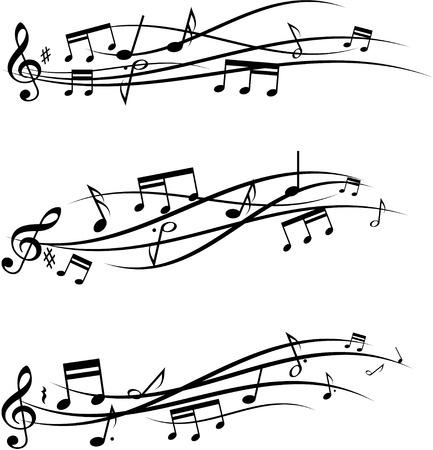 musical notes: Conjunto de tres notas banners musicales.