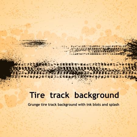 Grunge tire track background.  Illustration