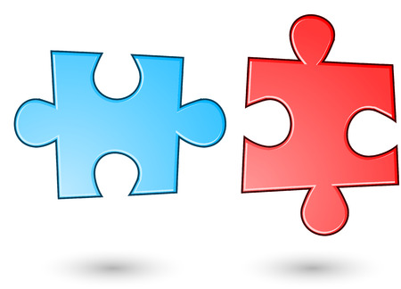 Red and blue puzzle background.  Stock Vector - 22550581