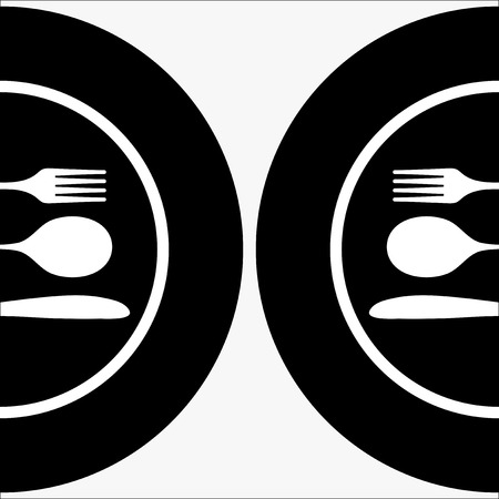 place setting: Black silhouette of knife, fork and spoon.