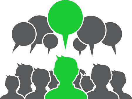 Group of people with speech bubbles and one green.  Vector