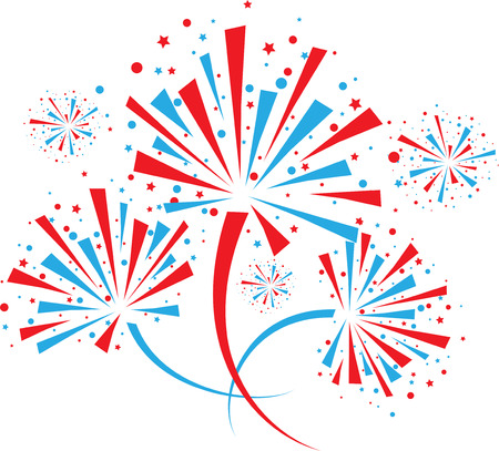 Big red and blue fireworks on white background. eps10
