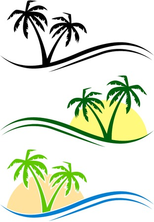 Three abstract palms with waves and sun. eps10 Vector