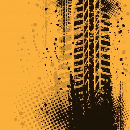 Fondo naranja grunge con neum�ticos de pista negro. eps10 Vectores