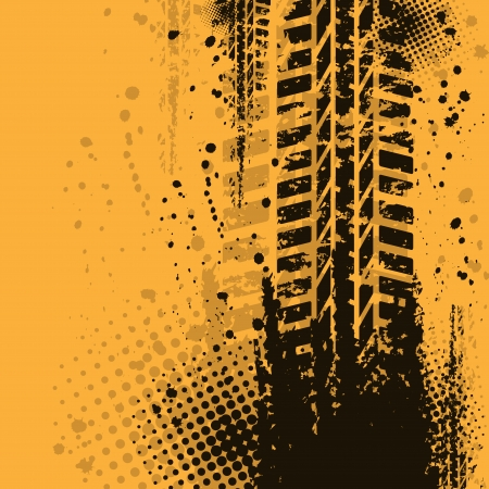 Orange grunge background with black tire track. eps10