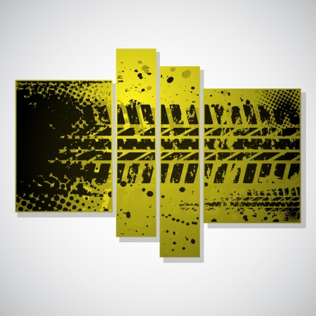 Set of three grunge yellow pictures with tire tracks. eps10 일러스트
