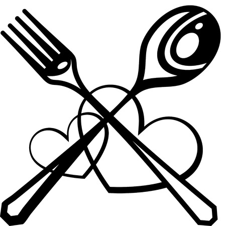 dining set: Black silhouette of knife, fork and hearts.