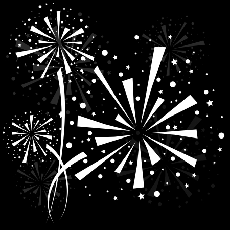 fireworks display: Big white fireworks on black background.
