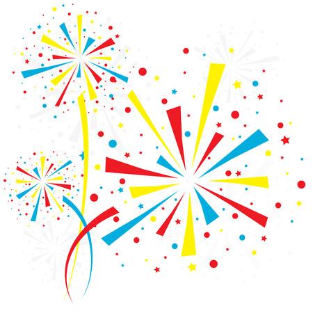 descriptive color: Big color fireworks on white background.