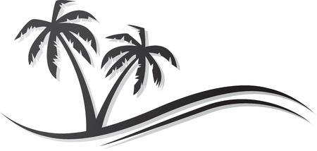 Abstract palms black icon.  Vettoriali