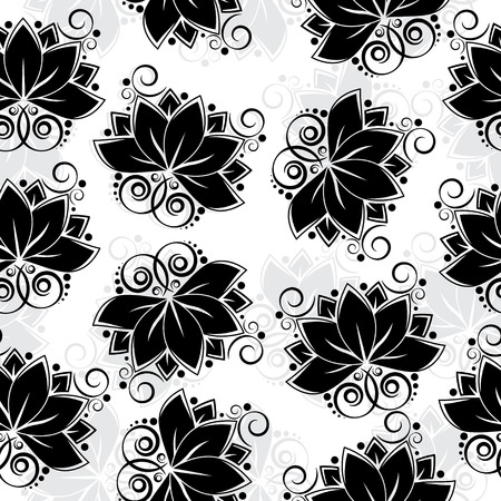 lotos: Seamless black silhouette of lotos flower.  Illustration