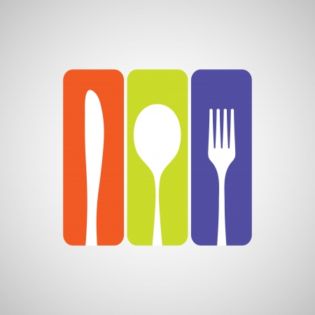 Silhouette of knife, fork and spoon with color rectangles. eps10 Vector