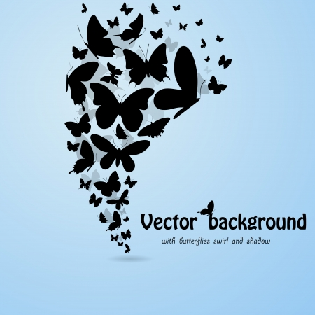 Blue backgroound with butterflies silhouettes. eps10 Vector