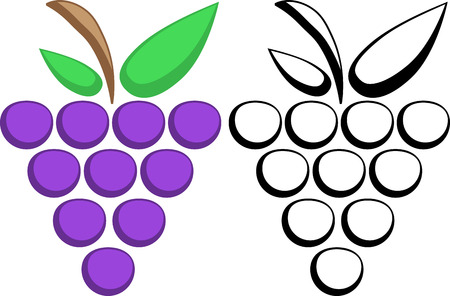Grapes color and silhouette. eps10 Vector
