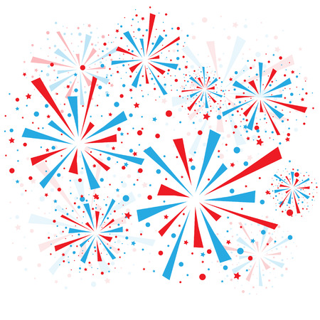 Big red and blue fireworks on white background.