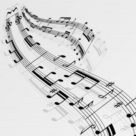 pentagrama musical: Notas de m�sica de onda de fondo.
