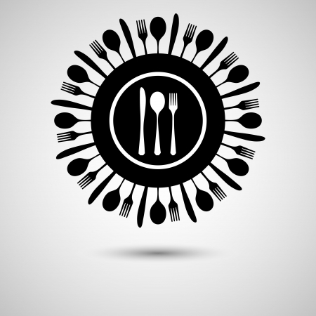 fork and spoon: Silhouette of knife, fork and spoon on plate Illustration