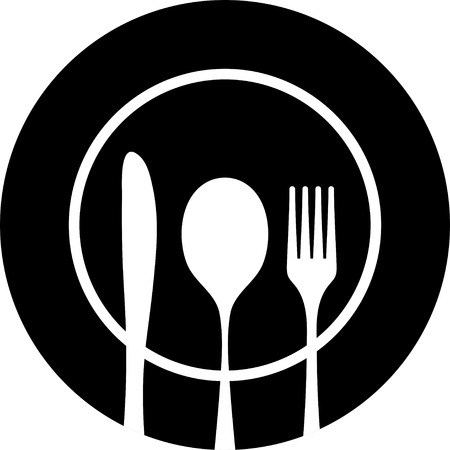 dining out: Black silhouette of knife, fork and spoon