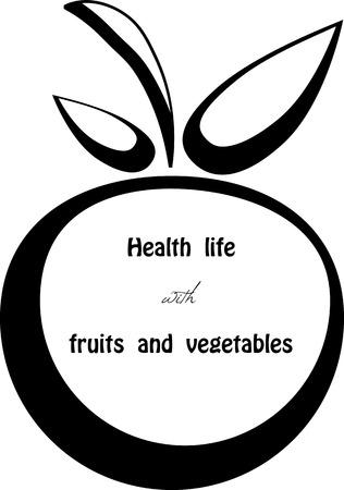granny smith apple: Black silhouette of apple.