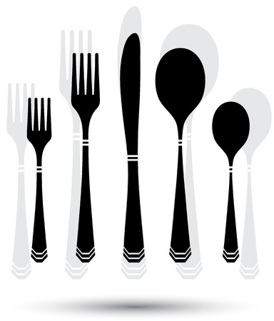 Cutlery silhouette with color lines on white. eps10 Vector