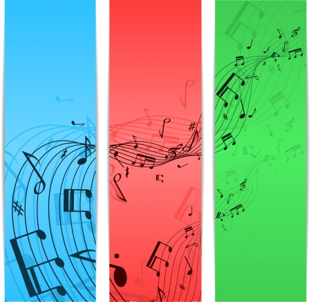 minims: Set of three banners different color with music notes. eps10 Illustration