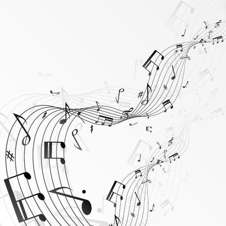 pentagrama musical: Fondo con las notas musicales. Vectores