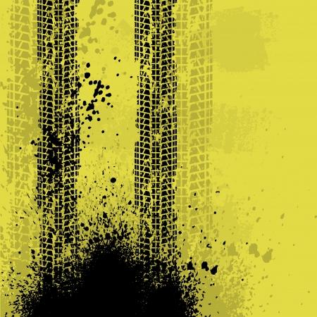 Yellow grunge tire track background. eps10