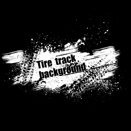 Black background with tire track and grunge splash.