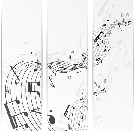 single line: Set of three banners with music notes.  Illustration