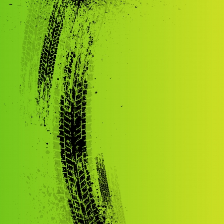 Green tire track background with ink splash. Vector