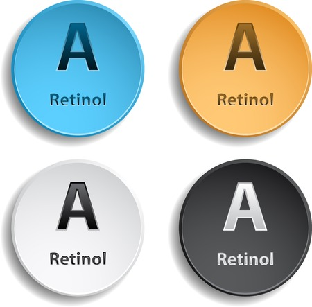 Set of four vitamin different colors.  Vector