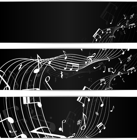 minims: Set of three black music notes banners