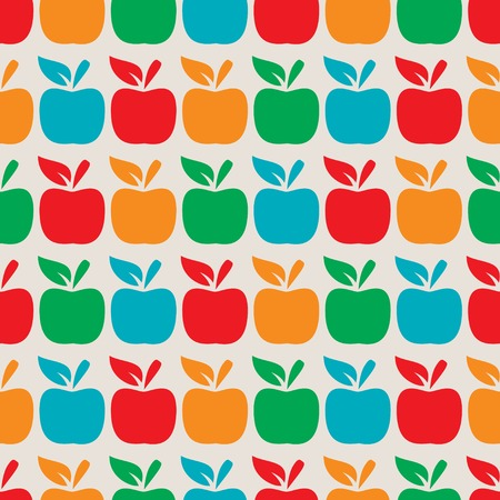 Seamless background with different color apples. Vector