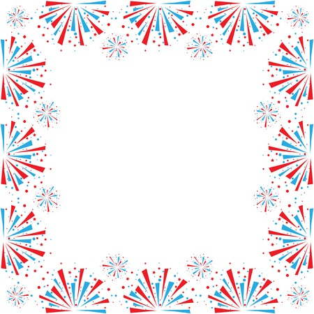 Big red and blue fireworks on white background. Vector