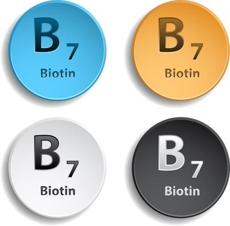 biotin: Four vitamin b7 different colors.