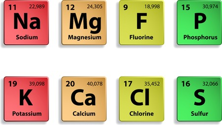 magnesium: Microelements on white