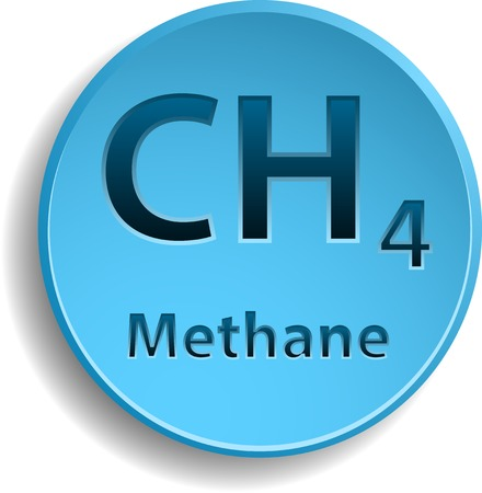 Blue button with methane element. Vector