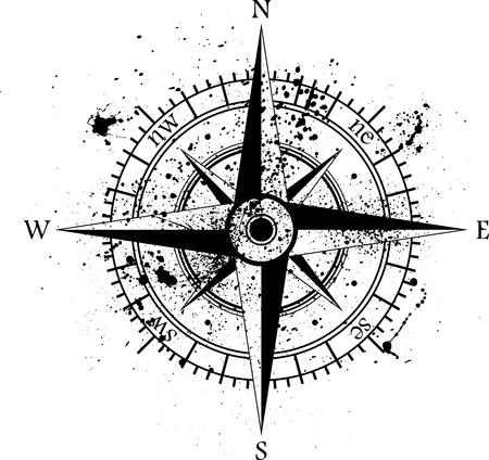 kompas: Black větrná růžice izolovaných na černém.