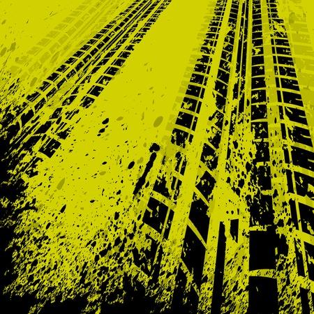 ブラック タイヤと黄色のグランジ背景を追跡します。  イラスト・ベクター素材