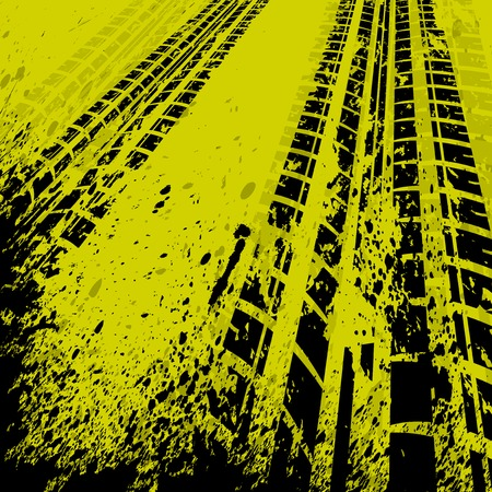 skidding: Yellow grunge background with black tire track.