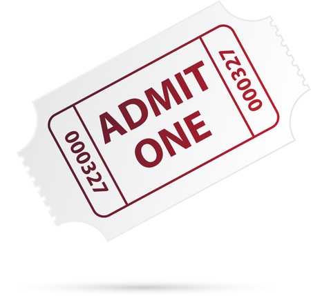 ticket stubs: White ticket with red text.  Illustration