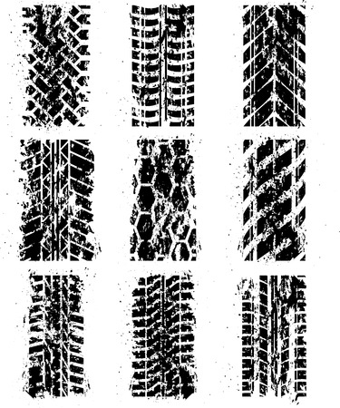 Set of nine tire tracks with ink blots. eps10 Vector