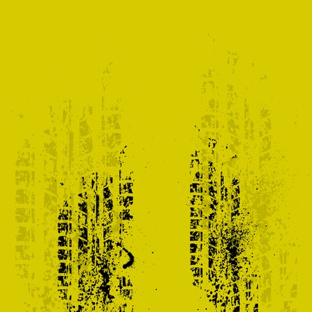 Black grunge tire track on yellow background.  Vector