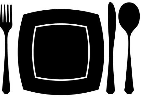 Black silhouette of knife, fork and spoon Vector