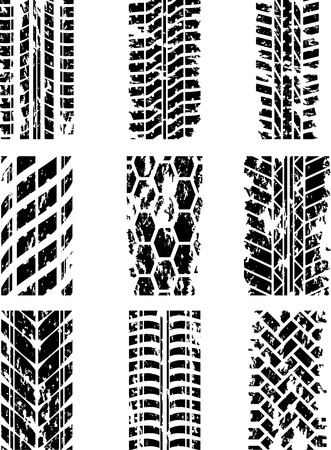 Set of nine tire tracks with ink blots. Vector