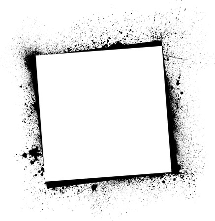 White background with ink blots frame.  Vector